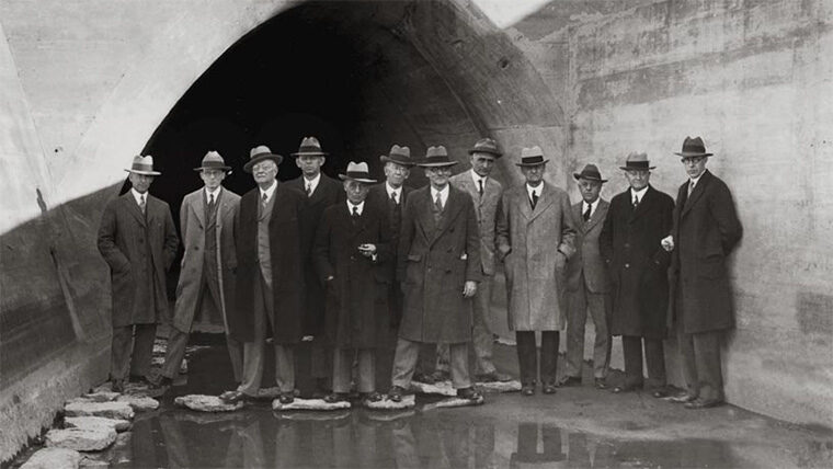 Daniel Mead and others stand at Miami River Valley basin