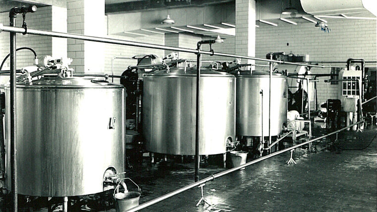 Black and white photo of food plant interior