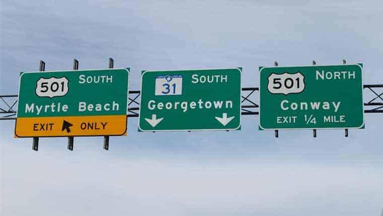 Carolina Bays Wetlands highway signs