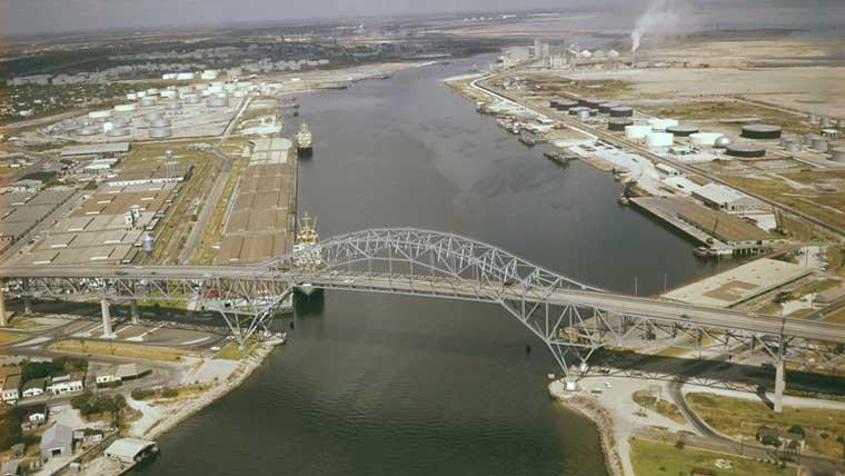 Aerial of historic harbor bridge in Corpus Christi