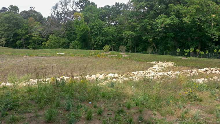 Large field with riprap