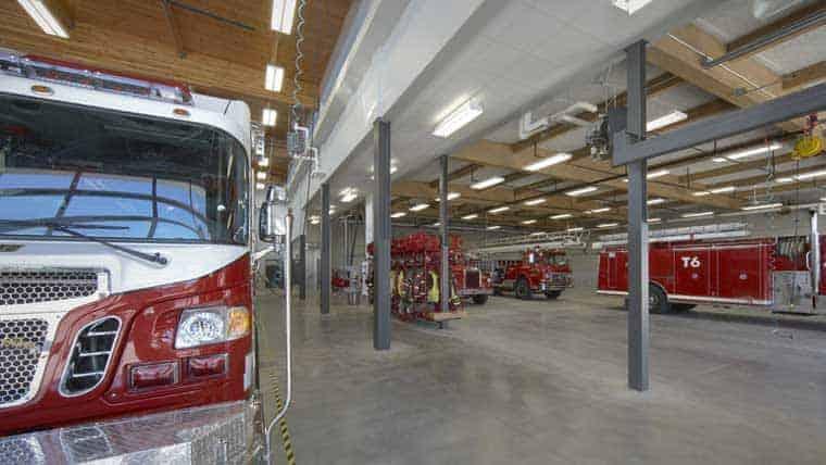 Interior of Waunakee fire station garage