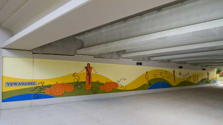 aesthetic treatments on walls under STH 54 Duck Creek bridge