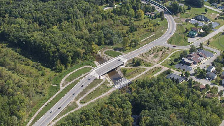 STH 54 and Duck Creek bridge carries lanes of traffic