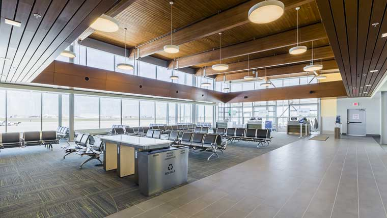 Interior seating area of Tri-Cities Airport