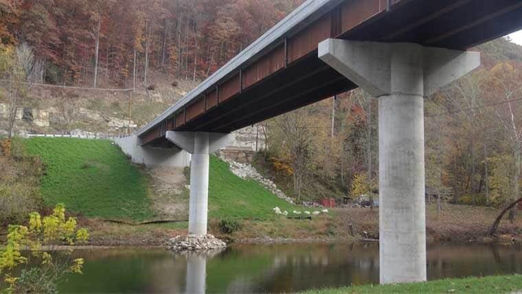 Hartland Bridge runs over water