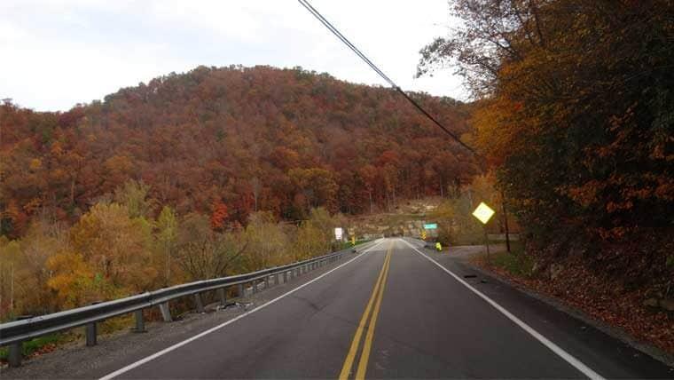 Roadway leading to bridge deck of Hartland Bridge