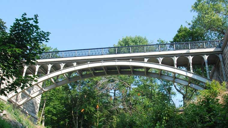 Lake park historic bridge spans over ravine
