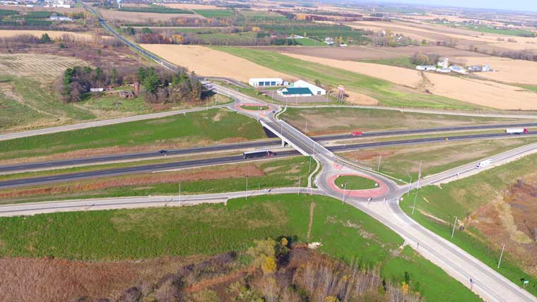 IH 94 and CTH T interchange with dual roundabouts
