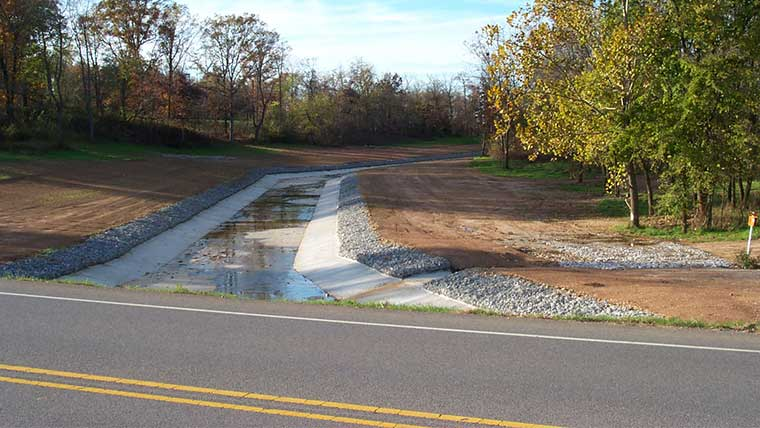 Northwest Arkansas Airport road with drainage are