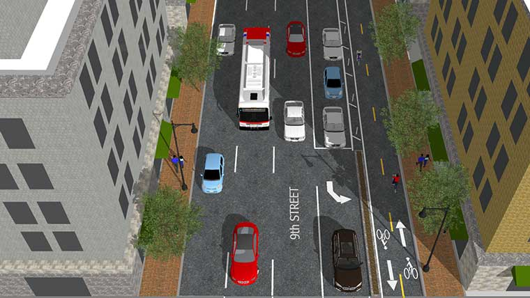 Rendering of alternative for adding Downtown bicycle lane