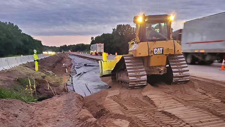 Constructing I-94 roadway in Albertville