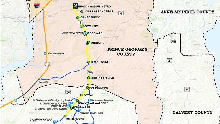 MD rapid transit study commuter bus network