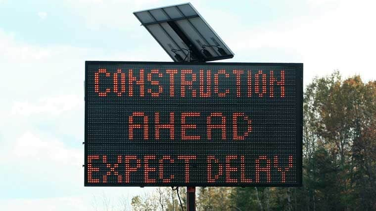 Construction ahead expect delays construction sign
