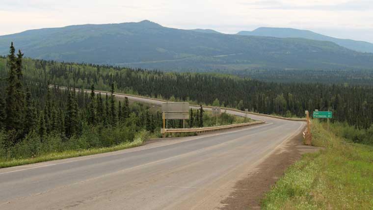 Winding old highway in Alaska