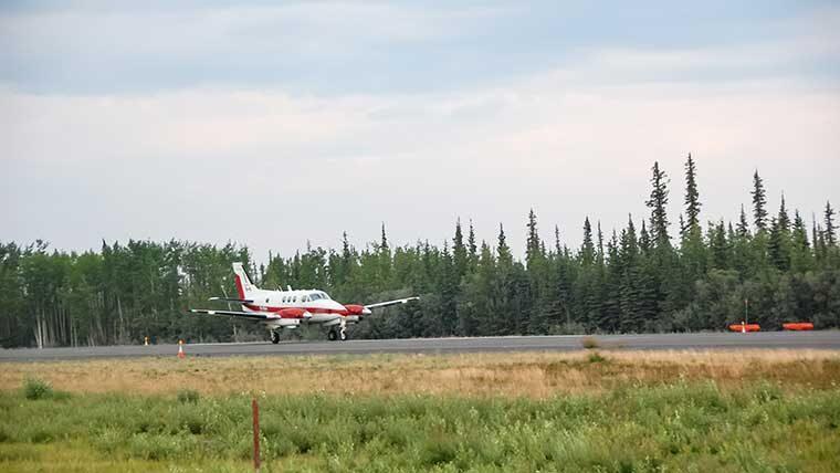Plane landing over trees
