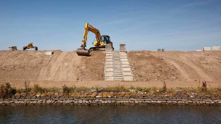 Construction equipment above water resource