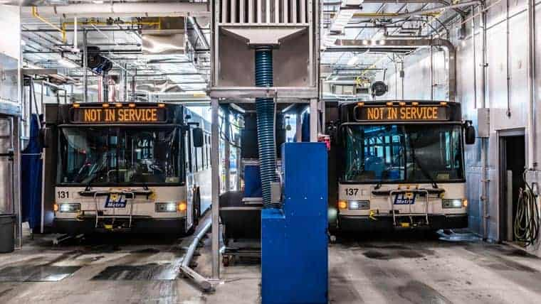 Buses parked in Metro Transit Facility