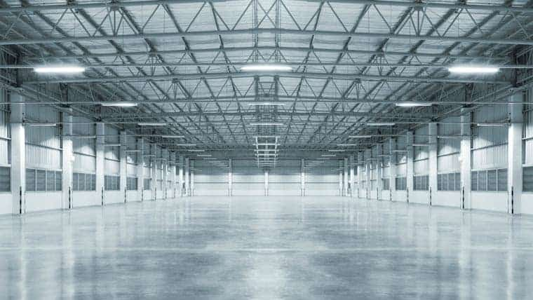 Warehouse with flat gray floor