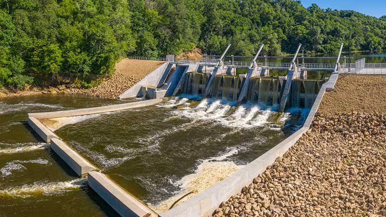 Overhead view of new Little Falls Dam