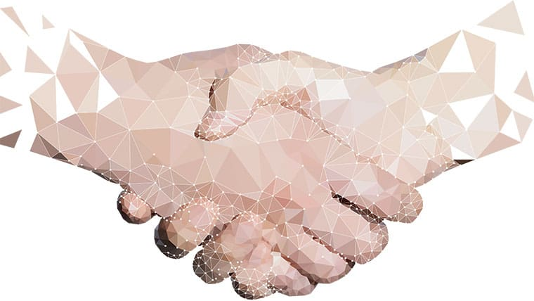 Two hands shaking representing partnership for USACE Task Order revisions