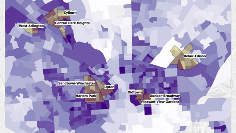 map of Baltimore highlighting equity in the transportation system.