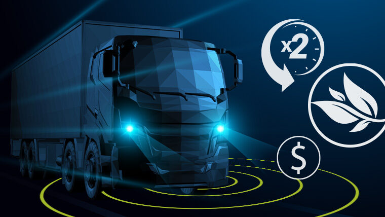 Graphic of automated freight truck