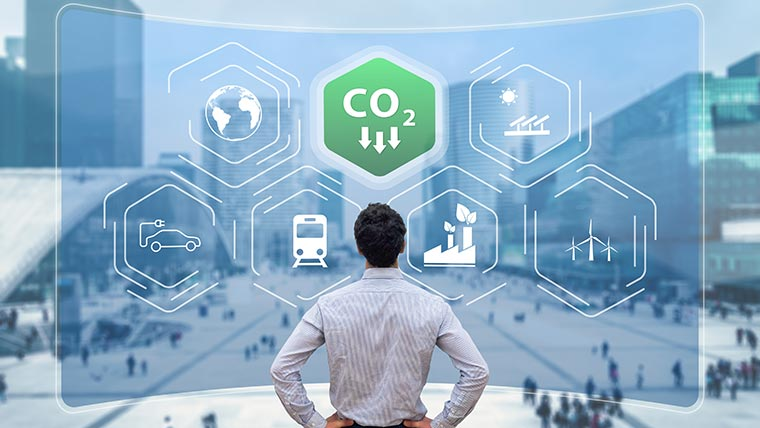 Man looking at icons representing ways to combat climate change