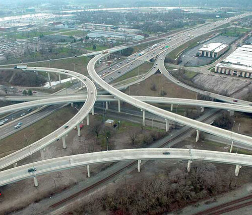 Aerial of MOT-75 interchange