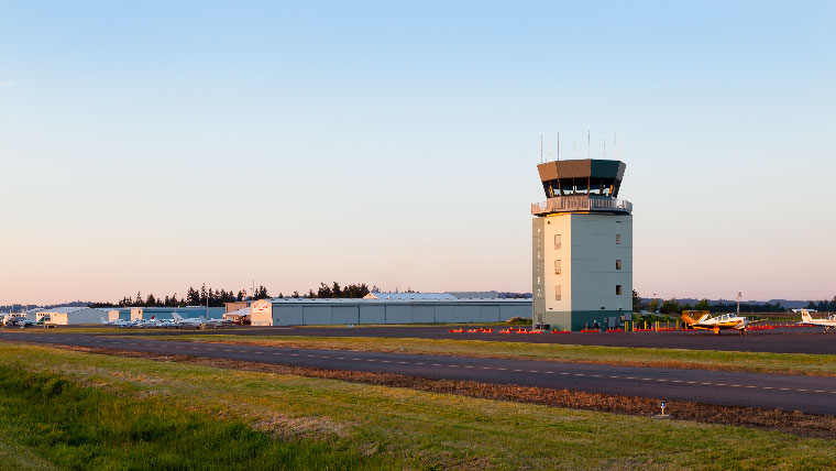Aurora Airport ATCT with sun setting