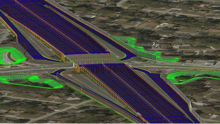 3D BIM model of roadway and bridge