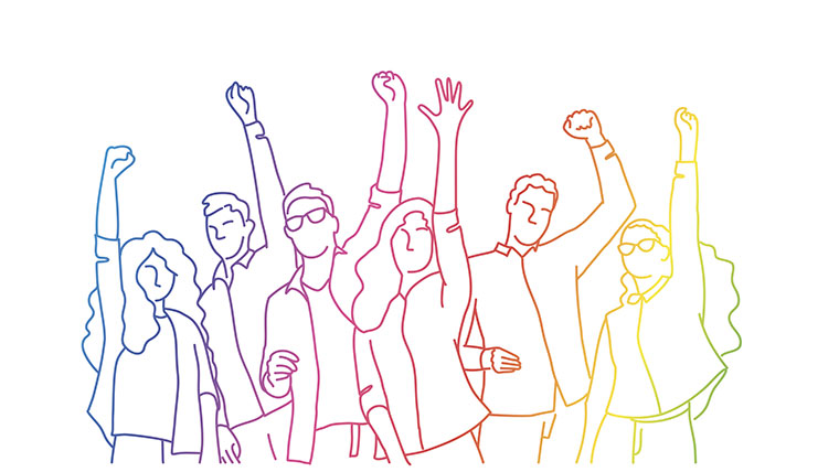 Illustration of people raising arms with rainbow colored lines