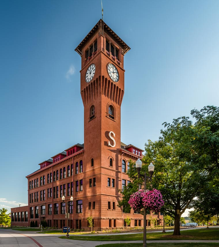 Vertical shot of Bowman Hall building with clock tower