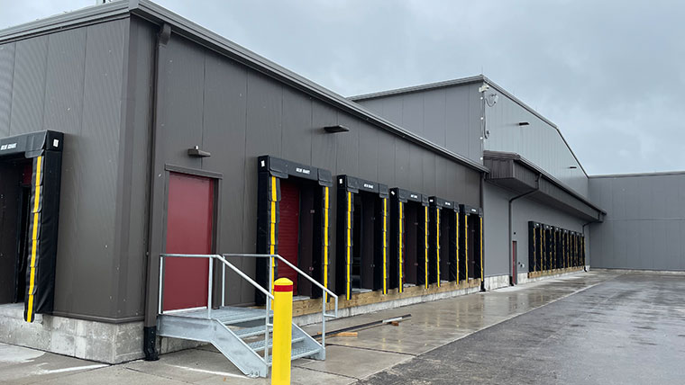 Exterior sideview of new brown cargo facility