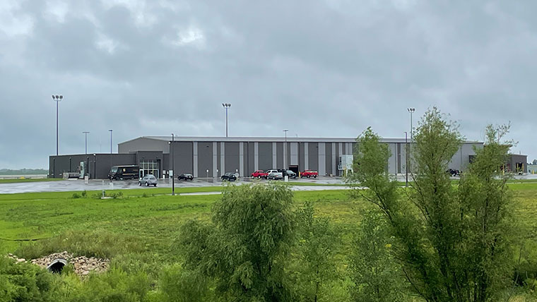 Exterior of Easter Iowa Airport's west cargo facility