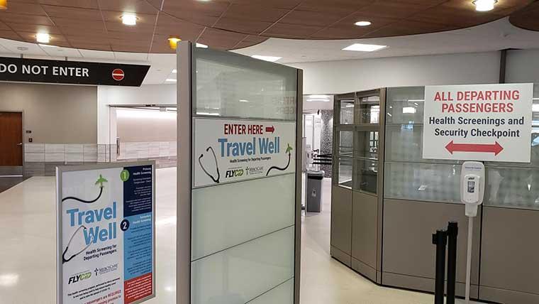 Health screening area at airport