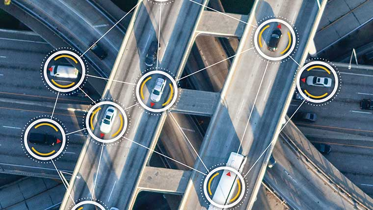 Aerial of connected and autonomous vehicles