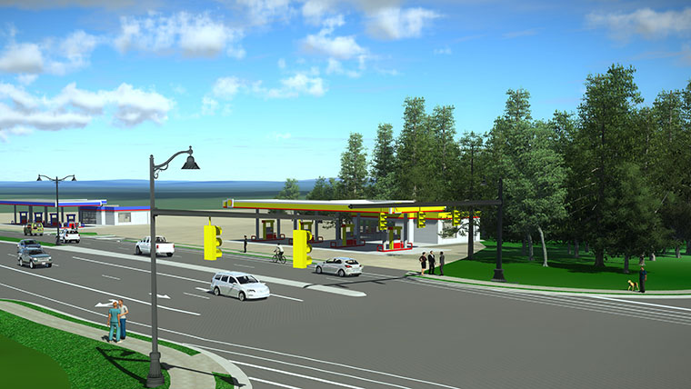 Rendering of corridor with gas stations