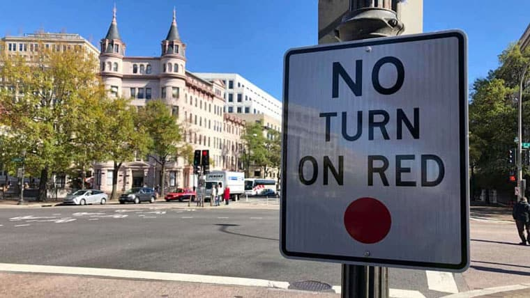 No Turn on Red Downtown DC