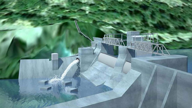 Design stage: model of a dam