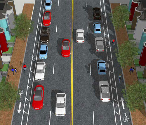 Eastern downtown cycle track alternative to add bike lanes