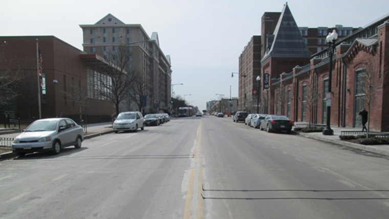Downtown roadway with no cycle track pre-construction