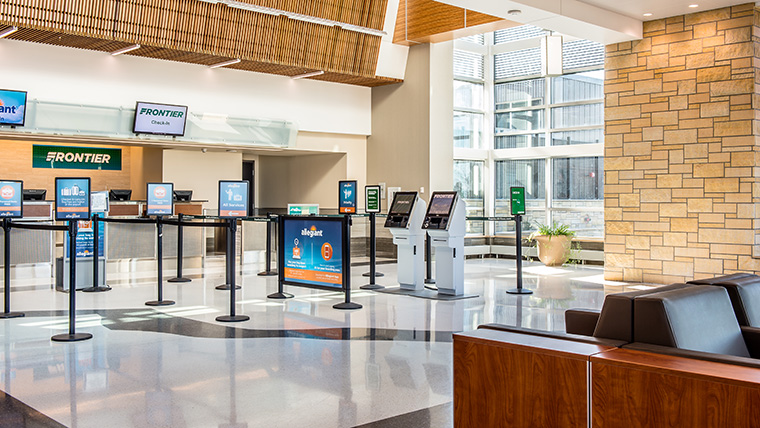 Check-in area at Eastern Iowa Airport
