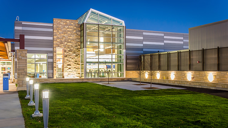 Eastern Iowa Airport exterior with lights