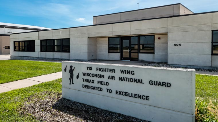 Exterior of Truax ANGB Squadron Ops with sign