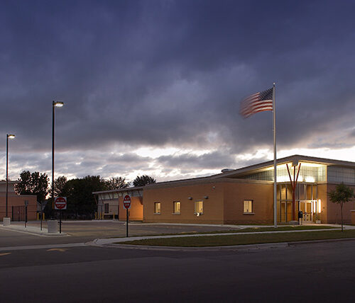 Marinette Water Treatment Facility exterior at night