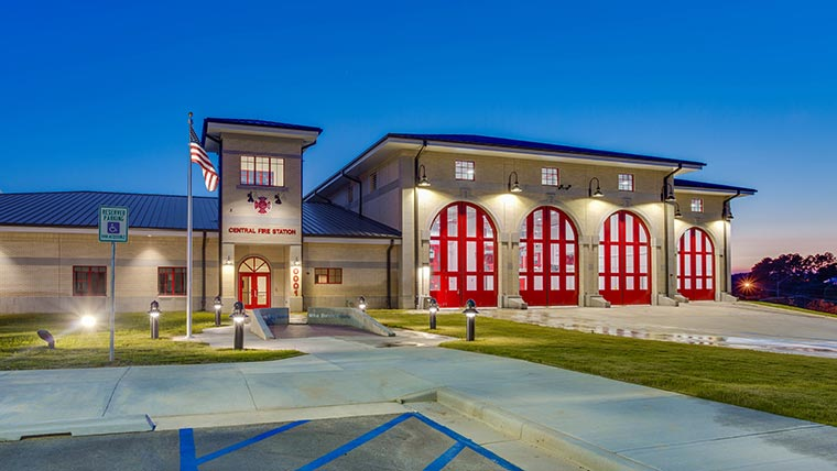 Fort Polk Fire Station Building at night