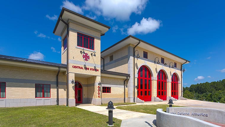 Sideview of Fort Polk Fire Station exterior