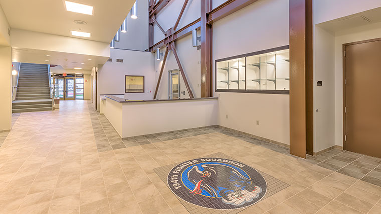 Fresno Squadron Operations Building with custom floor tiles and logo