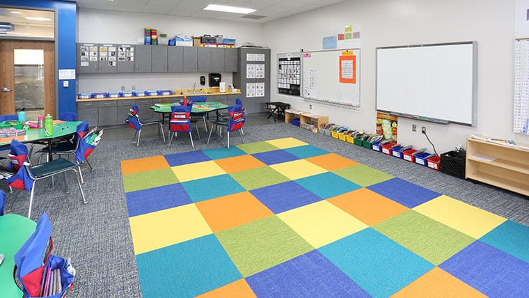 Brightly colored classroom